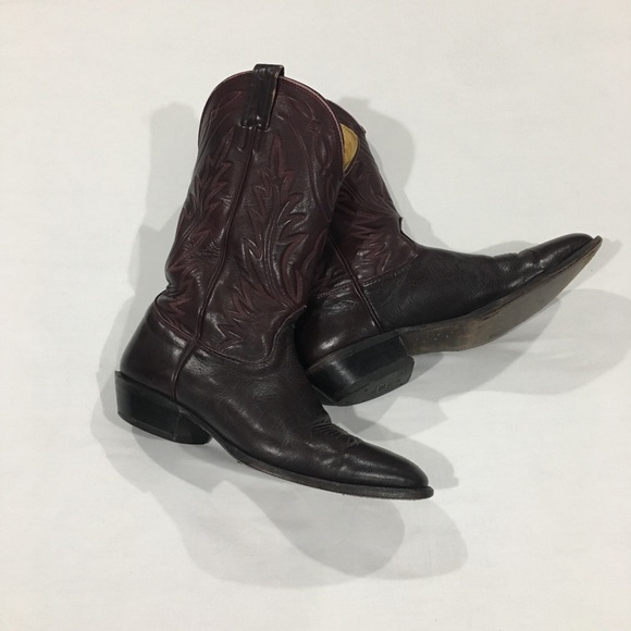 14305ee4eee Nocona Burgundy Leather Round Toe Cowboy Boots